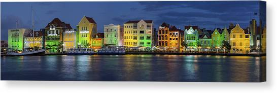 Pontoon Canvas Print - Willemstad Curacao At Night Panoramic by Adam Romanowicz