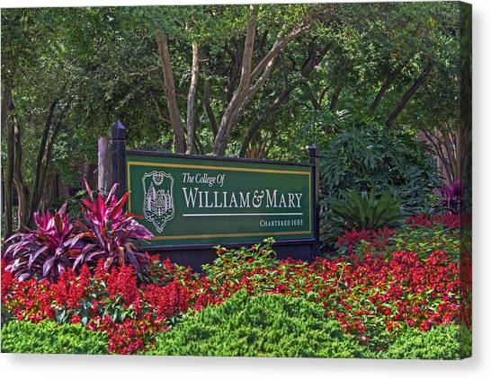 William And Mary Welcome Sign Canvas Print