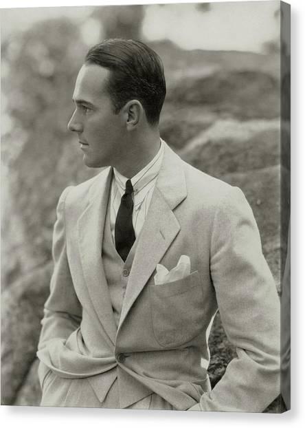 Flannel Canvas Print - William Haines Wearing A Three-piece Suit by Edward Steichen