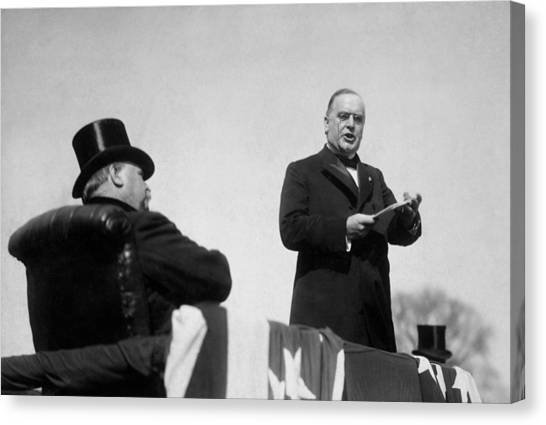 Republican Presidents Canvas Print - William Mckinley Making His Inaugural Address by War Is Hell Store