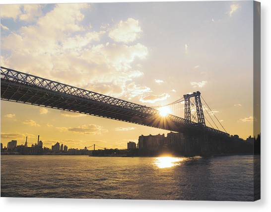 City Sunsets Canvas Print - Williamsburg Bridge - Sunset - New York City by Vivienne Gucwa