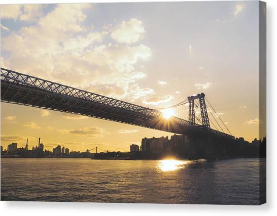 City Sunset Canvas Print - Williamsburg Bridge - Sunset - New York City by Vivienne Gucwa