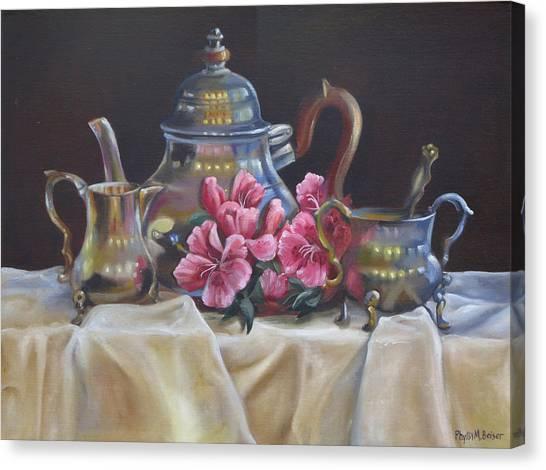 Tea Set Canvas Print - Williamsburg Stieff Tea Set by Phyllis Beiser