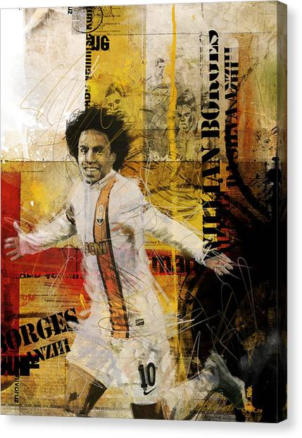 Real Madrid Canvas Print - Willian Borges Di Silva by Corporate Art Task Force