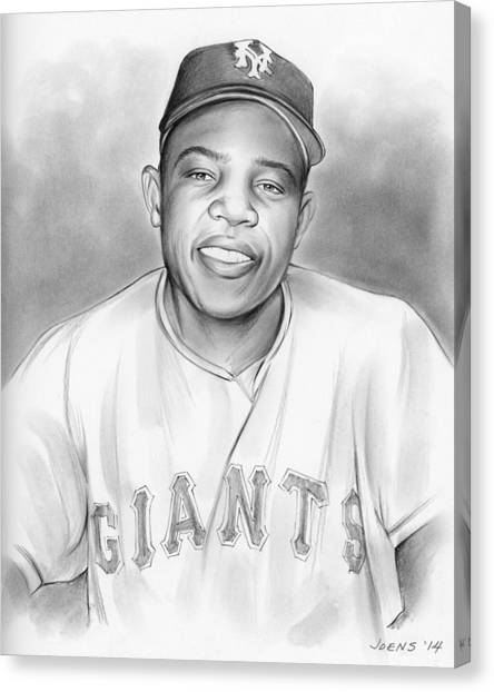 New York Giants Canvas Print - Willie Mays by Greg Joens