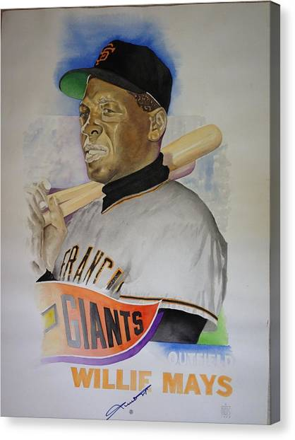 Willie Mays Canvas Print by Robert  Myers