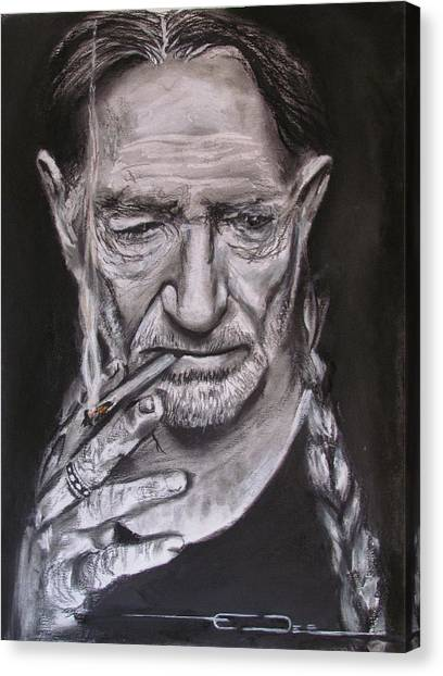 Shotguns Canvas Print - Willie Nelson - Doobie Brother by Eric Dee
