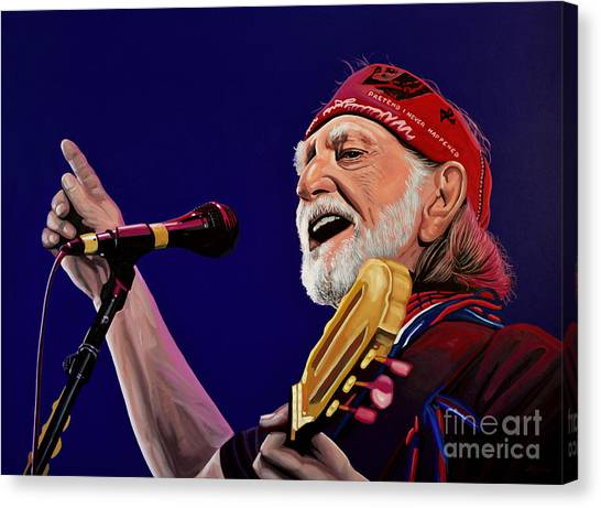 Crazy Canvas Print - Willie Nelson by Paul Meijering