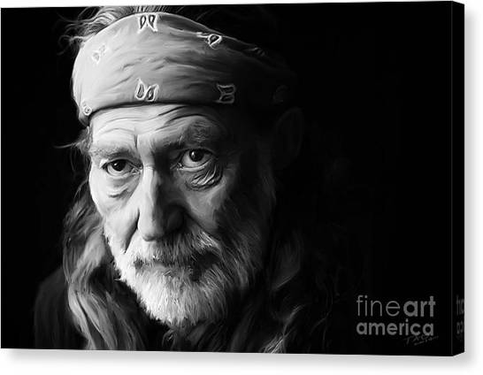 Cowboy Art Canvas Print - Willie Nelson by Paul Tagliamonte