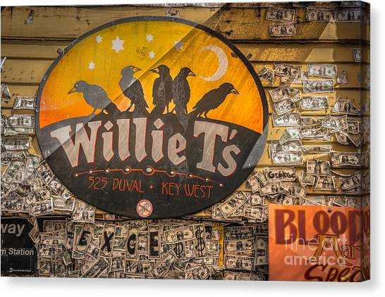 Currency Canvas Print - Willie T's Bar And Dollar Bills Key West - Hdr Style by Ian Monk