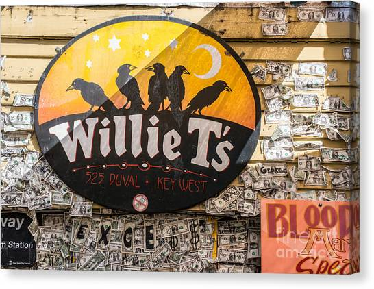 Currency Canvas Print - Willie T's Bar And Dollar Bills Key West  by Ian Monk
