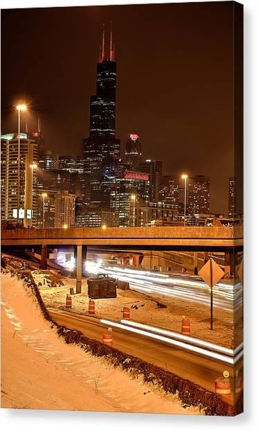 Willis Tower Chicago Winter 2014 Canvas Print by Michael  Bennett