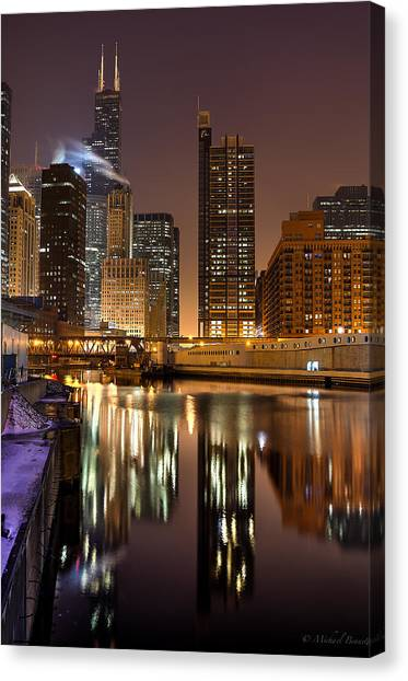 Willis Tower Reflection In Chicago River March 2014 Canvas Print by Michael  Bennett
