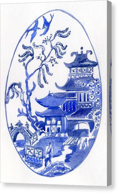 Willow Pattern Egg I Canvas Print