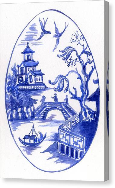 Willow Pattern Egg II Canvas Print
