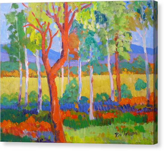 Canvas Print featuring the painting Wilma S Place Utopia Broowena  Qld. by Virginia Mcgowan