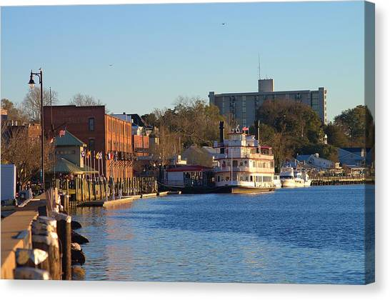 Wilmington River Front At Sunset January 2014 Canvas Print