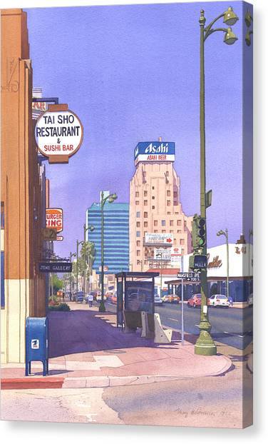 Traffic Canvas Print - Wilshire Blvd At Mansfield by Mary Helmreich
