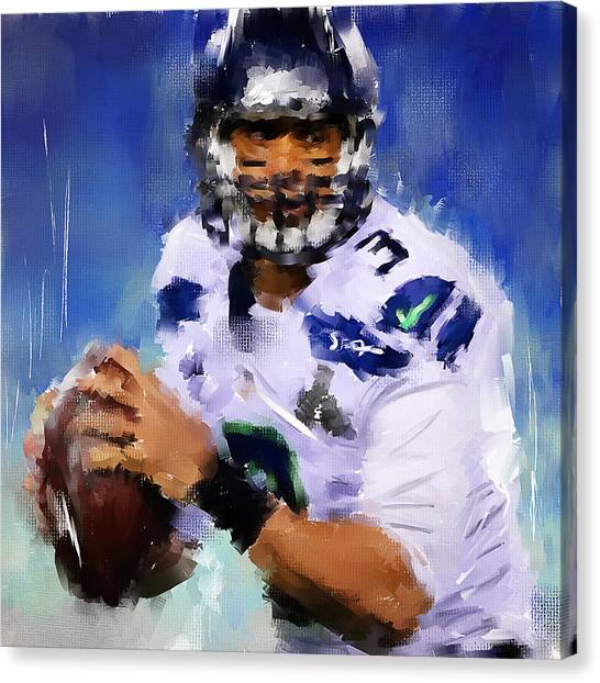 Seattle Seahawks Canvas Print - Wilson Winner by Lourry Legarde