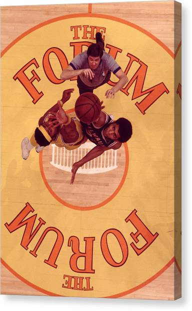Basketball Canvas Print - Wilt Chamberlain Vs. Kareem Abdul Jabbar Tip Off by Retro Images Archive