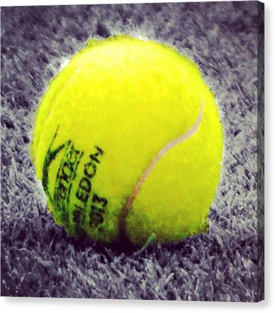 Tennis Ball Canvas Print - Wimbledon 2013 #tennis #ball by Mateusz Plaza
