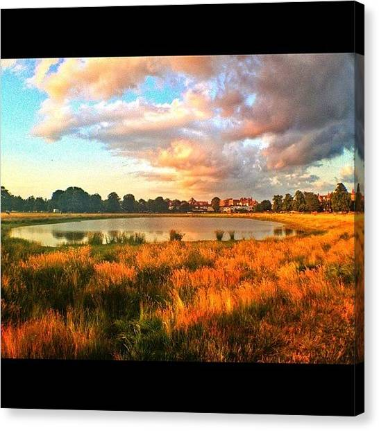 Lake Sunsets Canvas Print - #wimbledon Common #sunset #clouds #lake by Brett Connors