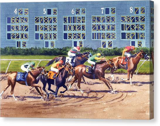 Race Horses Canvas Print - Win Place Show At Del Mar by Mary Helmreich