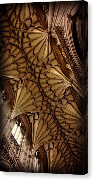 Romanesque Art Canvas Print - Winchester Cathedral Ceiling by Stephen Stookey