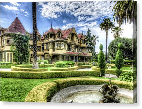 Canvas Print featuring the photograph Winchester Mystery House by Jim Thompson
