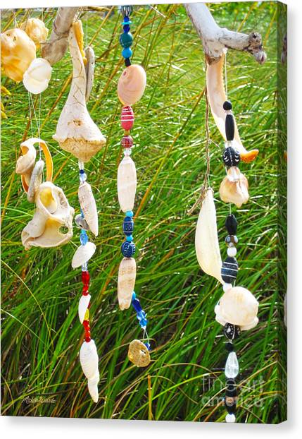 Wind Chimes Canvas Print - Wind Chimes At The Beach by Michelle Wiarda-Constantine