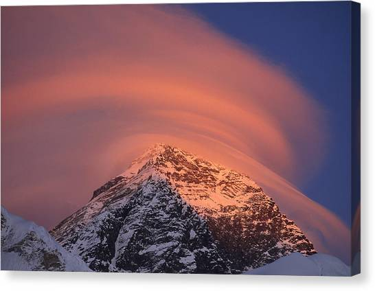 Mount Everest Canvas Print - Wind Cloud Over Mount Everest by Grant  Dixon