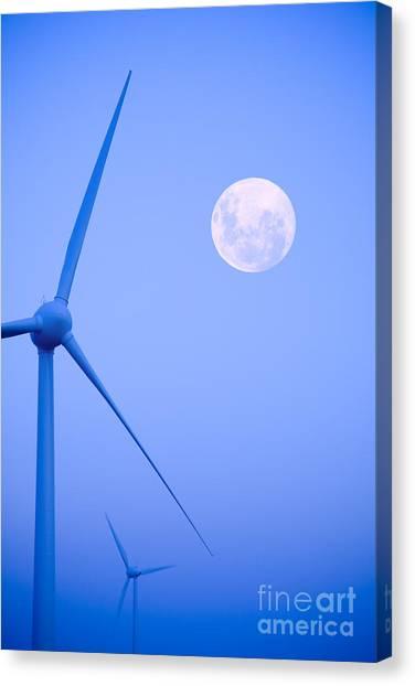 Wind Farm  And Full Moon Canvas Print