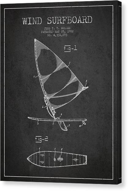 Water Sports Art Canvas Print - Wind Surfboard Patent Drawing From 1982 - Dark by Aged Pixel