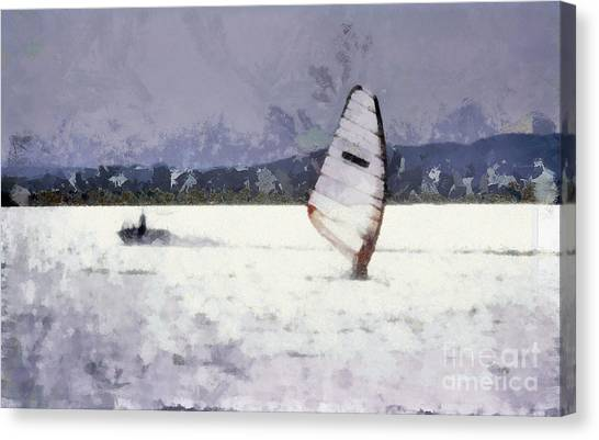 Wind Surfers On The Lake Canvas Print