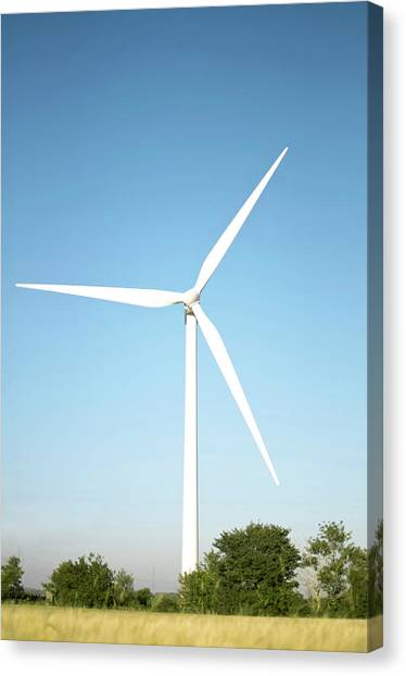 Wind Turbine And Blue Sky Canvas Print by Jesper Klausen / Science Photo Library