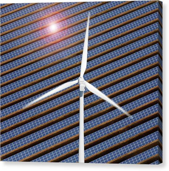Solar Farms Canvas Print - Wind Turbine And Solar Panels by Victor De Schwanberg