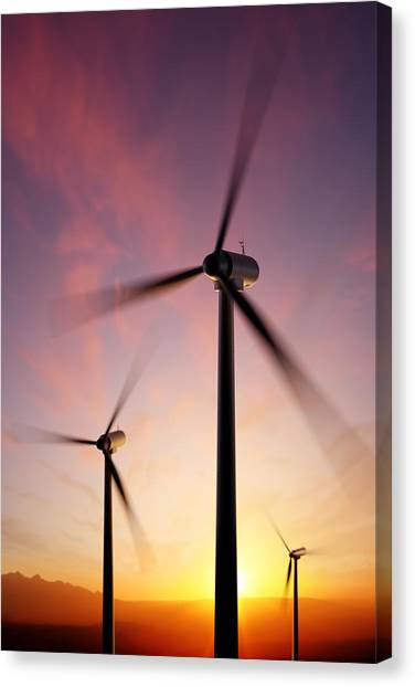Equipment Canvas Print - Wind Turbine Blades Spinning At Sunset by Johan Swanepoel