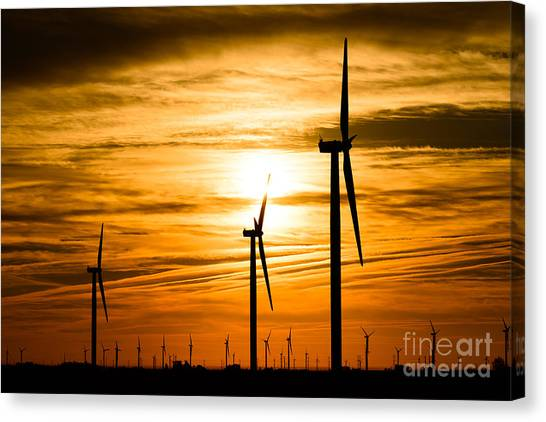 Wind Farms Canvas Print - Wind Turbine Farm Picture Indiana Sunrise by Paul Velgos