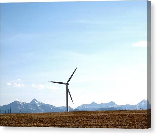 Wind Turbine Canvas Print by Mavis Reid Nugent