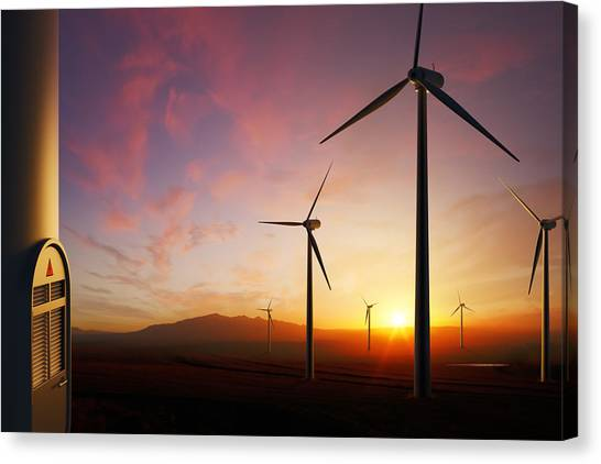 Wind Farms Canvas Print - Wind Turbines At Sunset by Johan Swanepoel