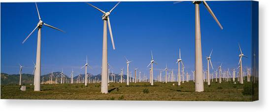 Wind Farms Canvas Print - Wind Turbines In A Field, Mojave by Panoramic Images