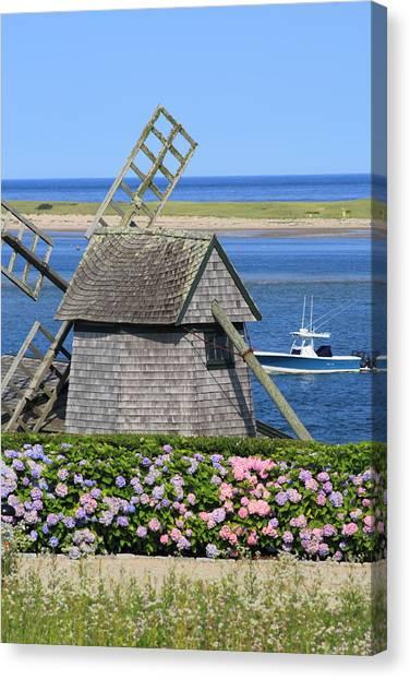 Chatham Canvas Print - Windmill And Hydrangeas Chatham Waterfront Cape Cod by John Burk