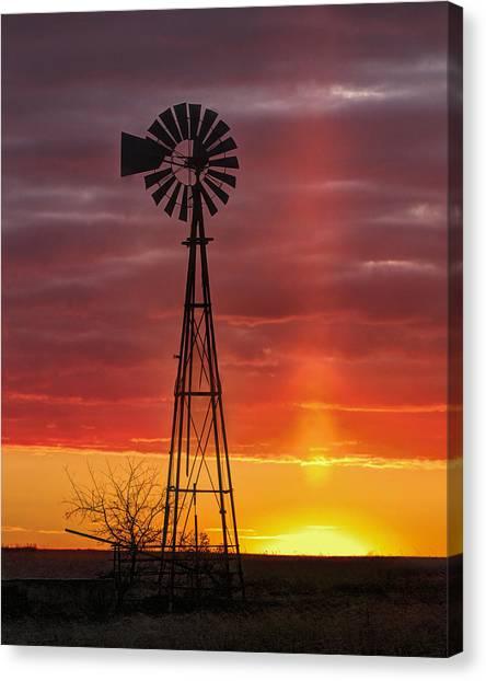 Windmill And Light Pillar Canvas Print