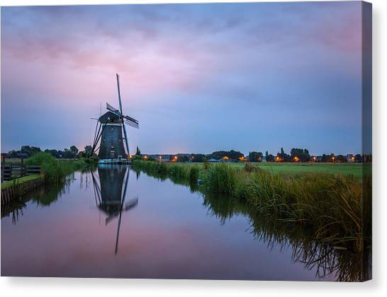 Windmill At Dawn Canvas Print