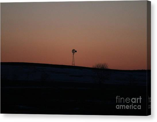 Canvas Print featuring the photograph Windmill At Sunset by Ann E Robson