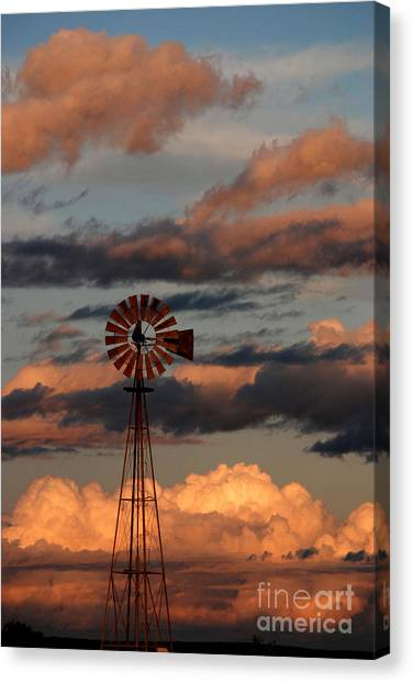 Windmill At Sunset V Canvas Print