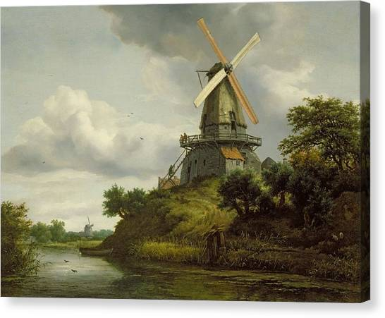 Grey Clouds Canvas Print - Windmill By A River by Jacob Isaaksz or Isaacksz van Ruisdael