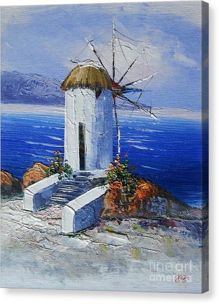 Windmill In Greece Canvas Print