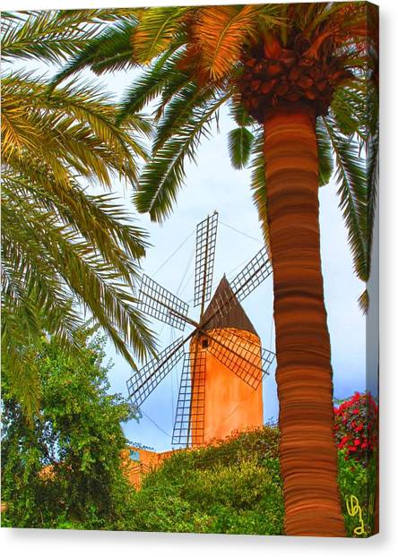 Windmill In Palma De Mallorca Canvas Print