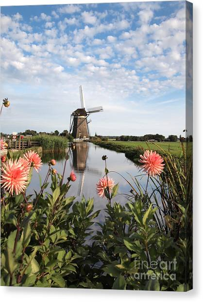 Windmill Landscape In Holland Canvas Print